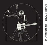 da vinci man playing rock... | Shutterstock .eps vector #1822748906