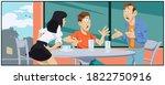 friends quarrel in cafe.... | Shutterstock .eps vector #1822750916