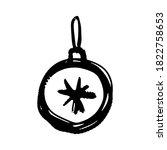 Christmas Ball Icon. Black Ink...