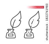 quill in ink stand line vector...   Shutterstock .eps vector #1822761983