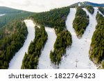 Aerial view of landscape of ski ...