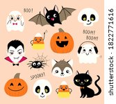 halloween collection of cute... | Shutterstock .eps vector #1822771616