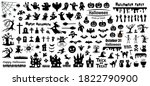 set of silhouettes of halloween ... | Shutterstock .eps vector #1822790900