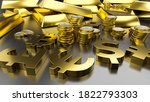 gold bars and golden currency... | Shutterstock . vector #1822793303