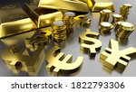 gold bars and golden currency... | Shutterstock . vector #1822793306