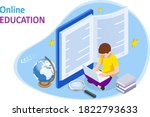 e learning  online education at ... | Shutterstock .eps vector #1822793633