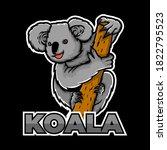 Koala Animal Eat Wood Icon Logo....