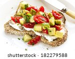 toast with cream cheese ... | Shutterstock . vector #182279588