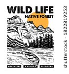 wild life mountains  forest ... | Shutterstock .eps vector #1822819253