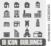 vector icon buildings on white... | Shutterstock .eps vector #182283560