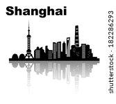 shanghai skyline   black and... | Shutterstock .eps vector #182286293