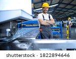 Portrait of factory worker in...