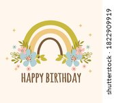 rainbow birthday hand drawn...   Shutterstock .eps vector #1822909919