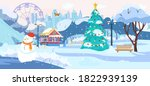 winter park scenery with no... | Shutterstock .eps vector #1822939139
