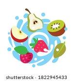 different bright berries... | Shutterstock .eps vector #1822945433