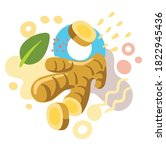 fresh ginger on color abstract... | Shutterstock .eps vector #1822945436