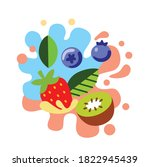 different bright berries on... | Shutterstock .eps vector #1822945439