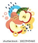 apples on abstract summer... | Shutterstock .eps vector #1822945460