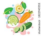 apple  carrot  cucumber on... | Shutterstock .eps vector #1822945553