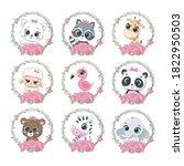 set of cute summer baby animals ...   Shutterstock .eps vector #1822950503