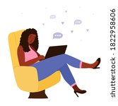 black african woman sits in... | Shutterstock .eps vector #1822958606