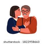 portrait of happy hugging... | Shutterstock .eps vector #1822958663
