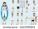 vector set of doctor character | Shutterstock .eps vector #1822989803