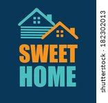 home design over blue...   Shutterstock .eps vector #182302013