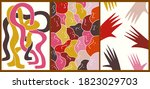 a set of three bright abstract... | Shutterstock .eps vector #1823029703
