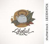 green herbal  organic tea ... | Shutterstock .eps vector #1823043926