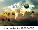 polygonal world map and... | Shutterstock .eps vector #182304836