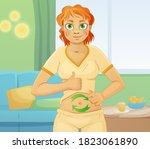 woman with good digestion. well ... | Shutterstock . vector #1823061890
