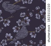 seamless pattern with crows and ...   Shutterstock .eps vector #1823111210