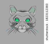 robotic cat head great for...   Shutterstock . vector #1823112383