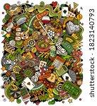 casino hand drawn vector doodle ... | Shutterstock .eps vector #1823140793