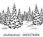 winter forest graphic black... | Shutterstock .eps vector #1823176406