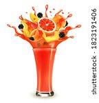 red berry juice splash. whole... | Shutterstock .eps vector #1823191406