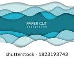 paper cut background. blue... | Shutterstock .eps vector #1823193743