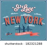vintage greeting card from new... | Shutterstock .eps vector #182321288