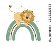 cute baby lion on rainbow. use... | Shutterstock .eps vector #1823233886