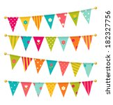 triangle bunting flags with... | Shutterstock . vector #182327756