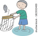 illustration of a boy catching... | Shutterstock . vector #182332400