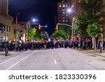Small photo of Raleigh,NC/USA-09262020 - Black Lives Matter/Breonna Taylor peaceful protest turned into vandalism and rioting an unlawful assembly was called before the curfew took place. A dozen arrested.