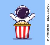 cute astronaut with popcorn... | Shutterstock .eps vector #1823336990