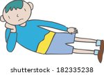 illustration of a boy lying on... | Shutterstock . vector #182335238