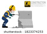 a construction worker is using... | Shutterstock .eps vector #1823374253