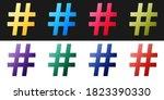 set hashtag icon isolated on...