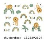 set of cute lion clip art. use... | Shutterstock .eps vector #1823392829