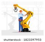 robotics expert flat vector...   Shutterstock .eps vector #1823397953