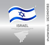 israel wavy flag and mosaic map ...   Shutterstock .eps vector #1823404583